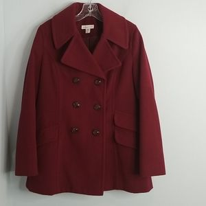 ColdWater Creek Burgundy Red Peacoat Large 14